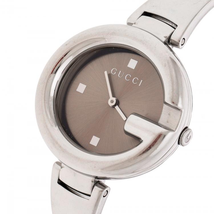 Gucci Metallic Beige Stainless Steel Guccissima 134.3 Women's Wristwatch 36 mm