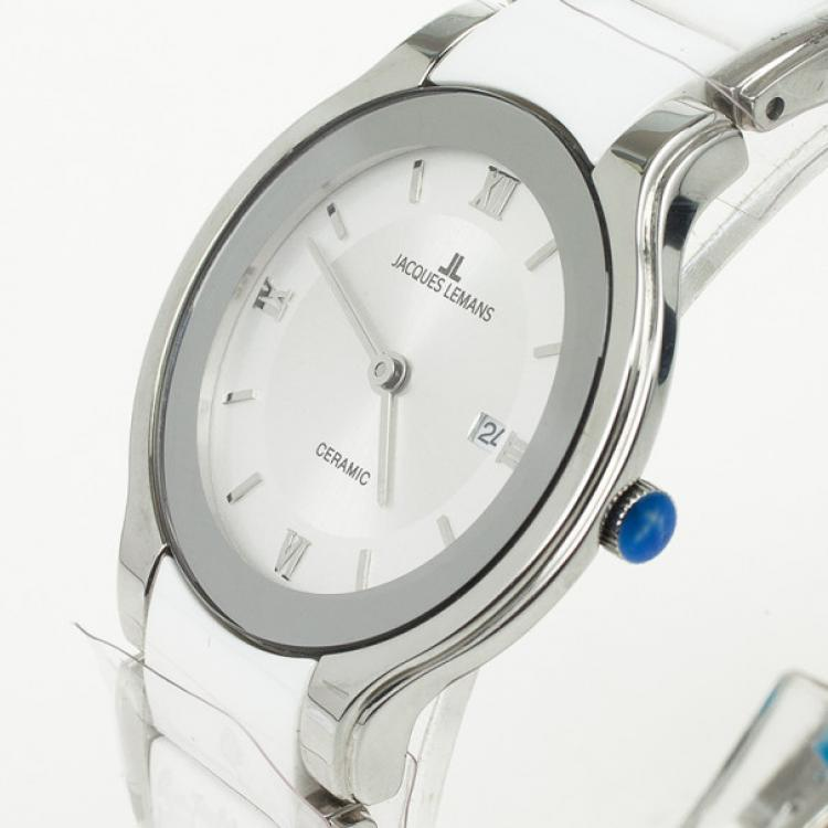 Jacques Lemans 1-1333 Stainless Steel Ceramic Quartz Womens Wristwatch 31 MM