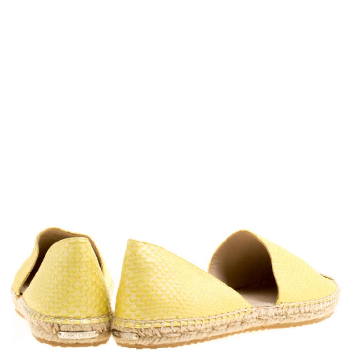 Jimmy Choo Yellow Pearl Finish Embossed Snakeskin Leather Dreya D'orsay Flat Espadrilles Size 39