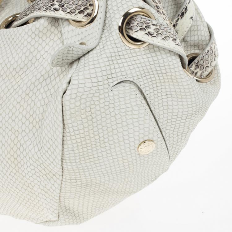 Jimmy Choo White 'Ramona' Python Leather Satchel