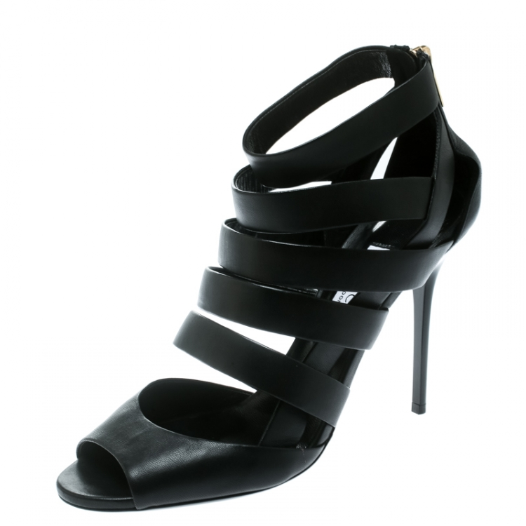 Jimmy Choo Black Leather Dame Caged Sandals Size 40
