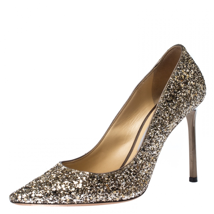 Jimmy Choo Metallic Gold Glitter Romy