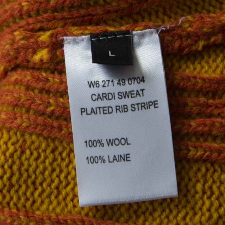 Joseph Multicolor Striped Wool Faux Wrap Button Detail Sweater L