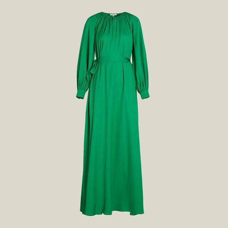 LAYEUR Green Borden Balloon Sleeve Poet Dress FR 46