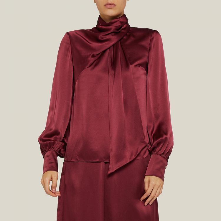 LAYEUR Red Fine Scarf-Neck Silk Blouse FR 44