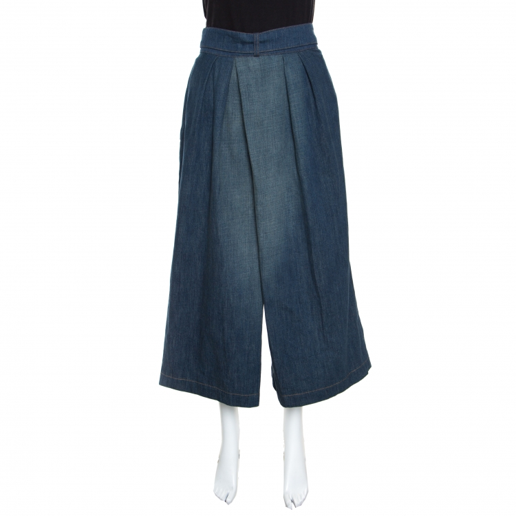 Loewe Indigo Light Wash Denim High Waist Culottes S