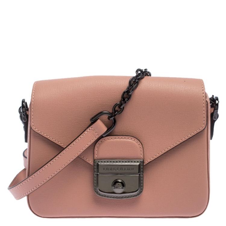 Longchamp Pink Leather Small Le Pliage Heritage Crossbody Bag ...
