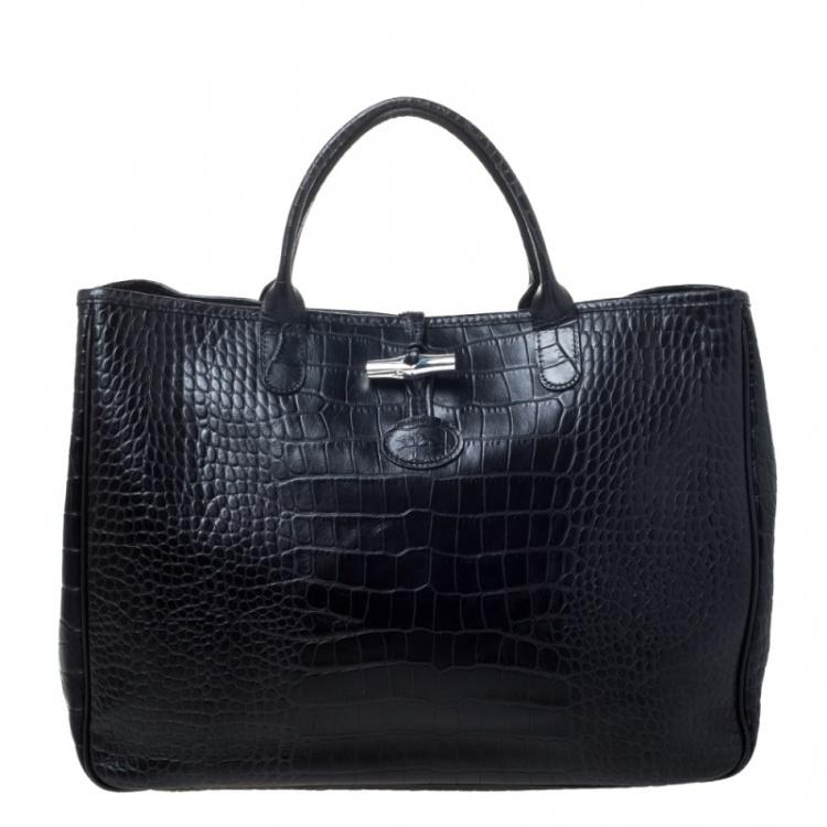 Longchamp Black Crocodile Embossed Leather Roseau Tote Longchamp | TLC