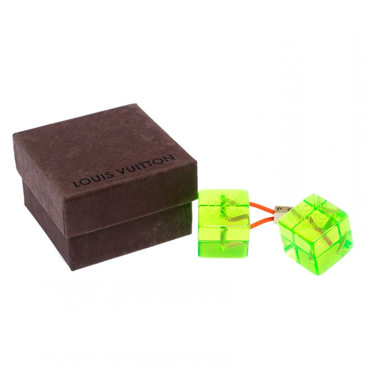 Louis Vuitton Green Neon Resin Cube Pony Tail Hairtie