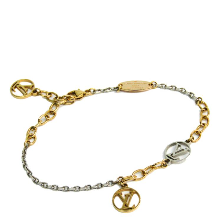 Louis Vuiiton Two Tone Gold Plated Logo Mania Bracelet