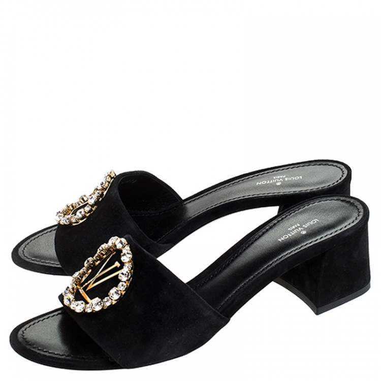 Louis Vuitton Black Suede Crystal Madeleine Mules Size 38.5
