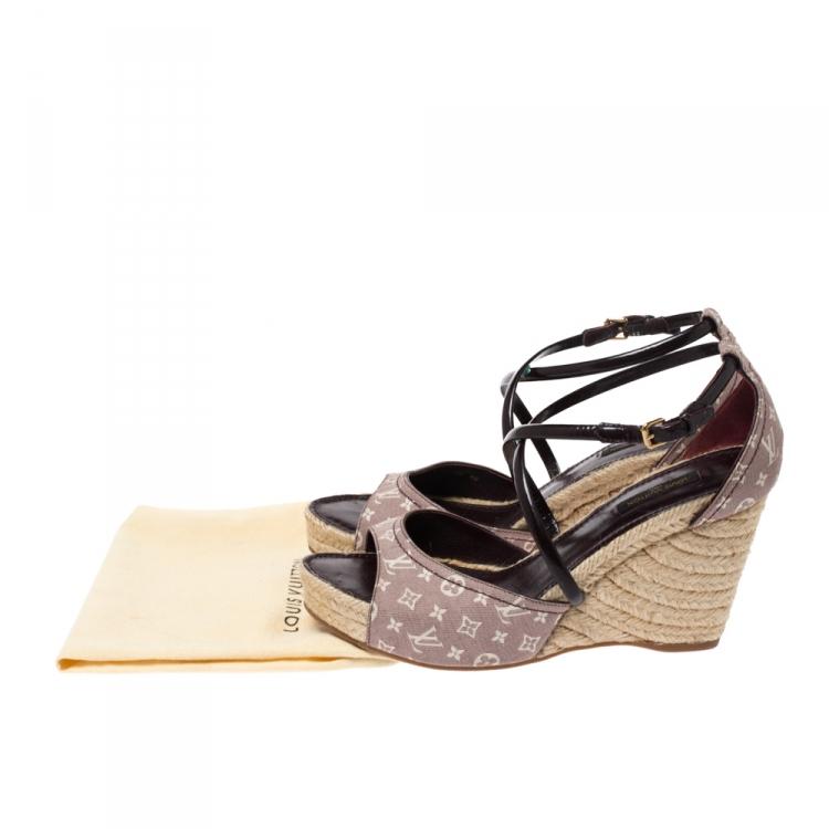 Louis Vuitton Pink Monogram Denim And Burgundy Patent Espadrilles Wedges Size 40