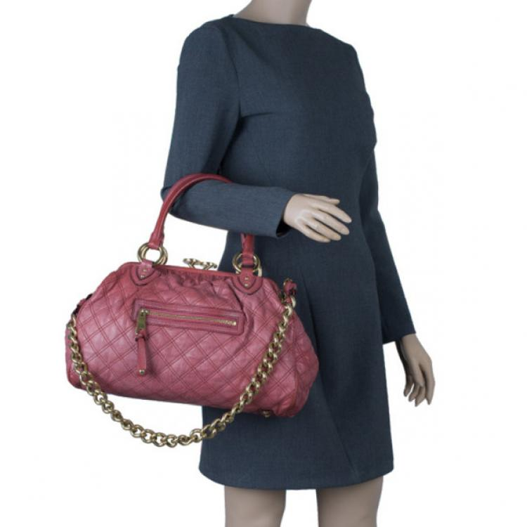 Marc Jacobs Cherry Red Quilted Leather Stam Bag
