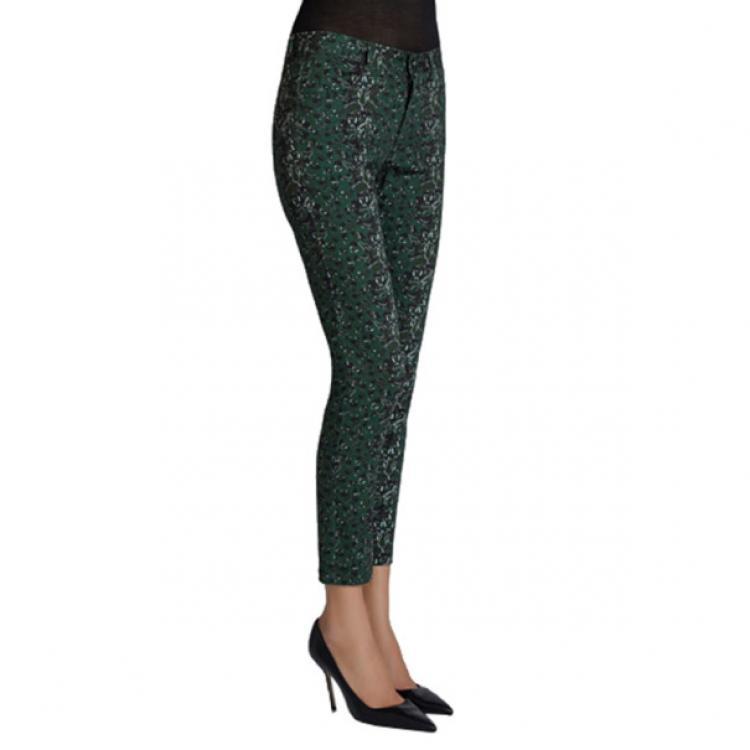 Mary Katrantzou Peacock Green Printed Skinny Jeans S