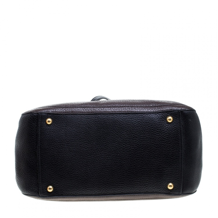 Miu Miu Dark Brown/Black Leather Caribou Top Handle Bag