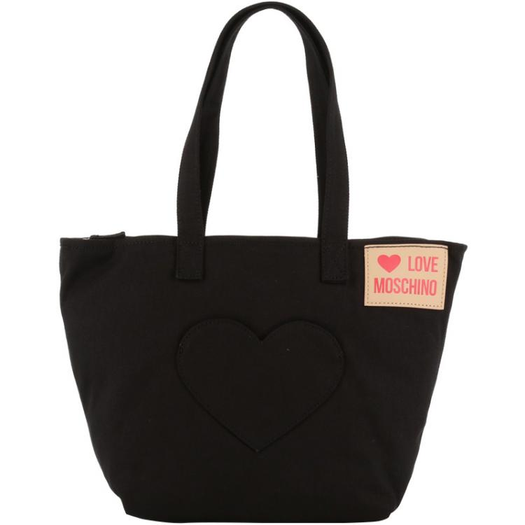 Love Moschino Black Fabric Love Applique Shoulder Bag