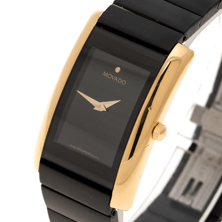 Movado Black Gold Plated Stainless Steel La Nouvelle Women's Wristwatch 22 mm