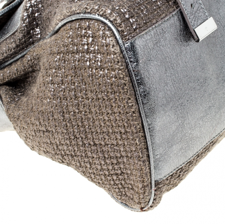 Mulberry Grey/Blue Metallic Woven Fabric and Leather Alexa Top Handle Bag
