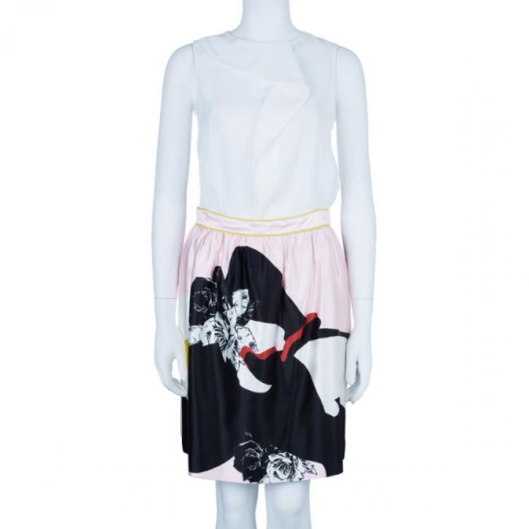 Prabal Gurung Floral Flounce Skirt S