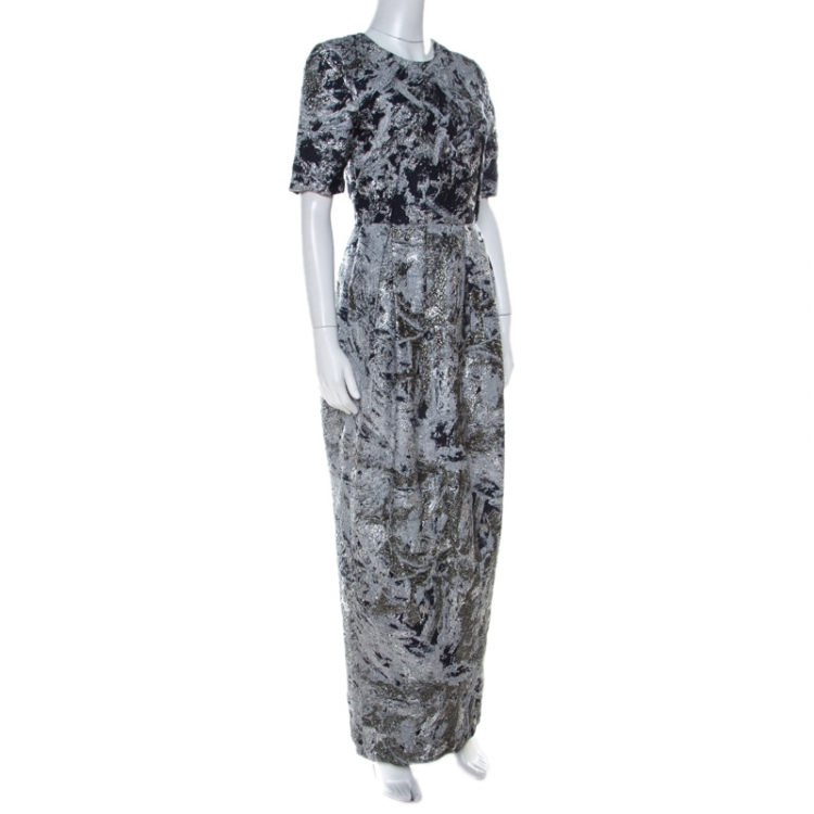 Prabal Gurung Metallic Silver & Navy Jacquard Short Sleeve Dress S