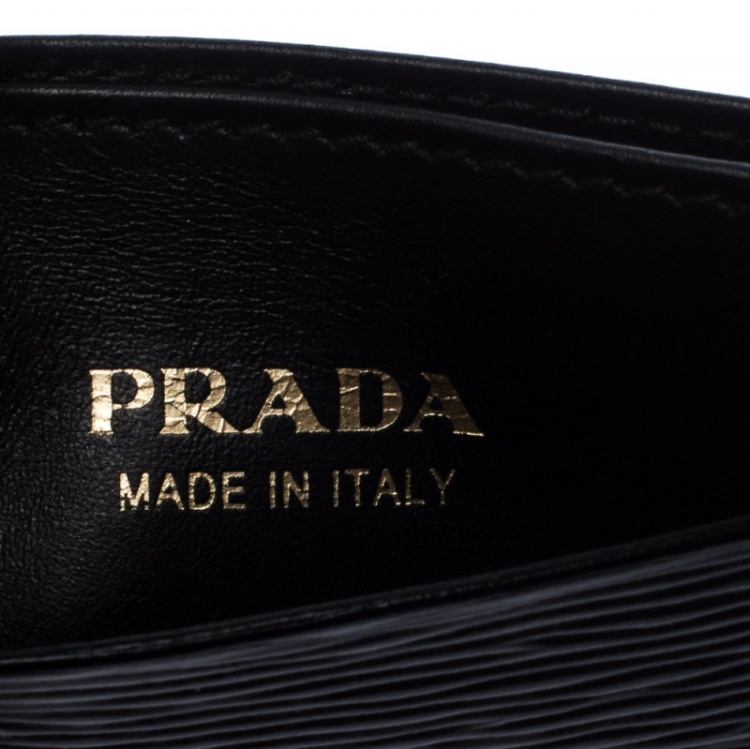 Prada Black Leather Logo Card Holder