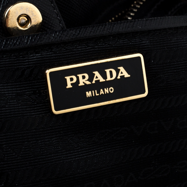 Prada Black Saffiano Lux Leather Gardener's Tote