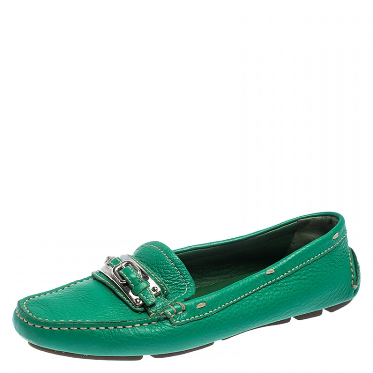 Prada Green Leather Buckle Detail Slip
