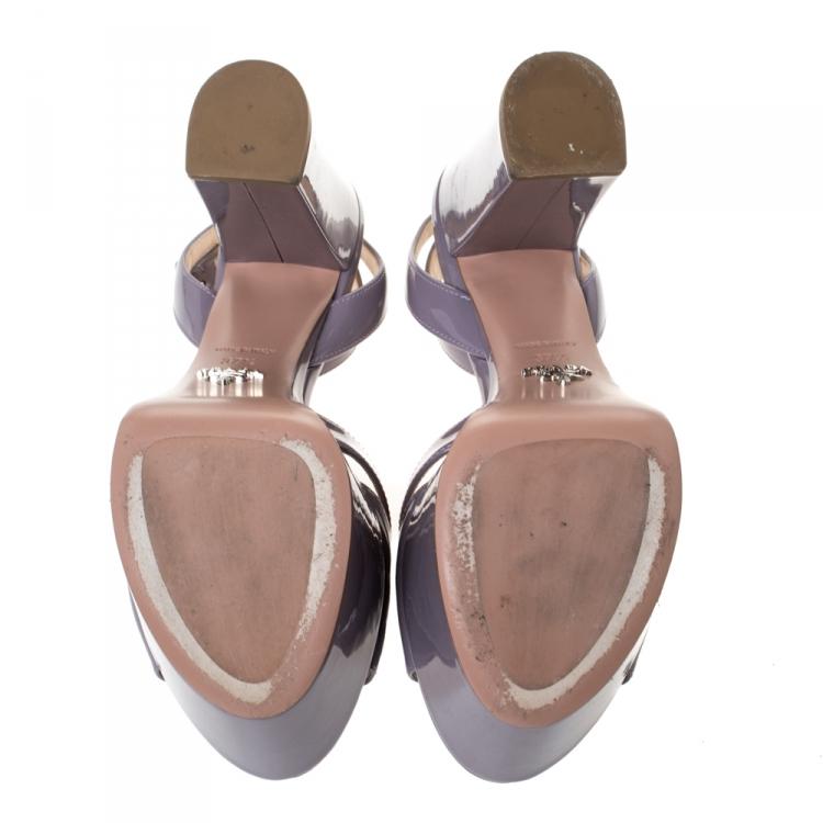 Prada Purple Patent Leather Open Toe Ankle Strap Platform Sandals Size 37.5