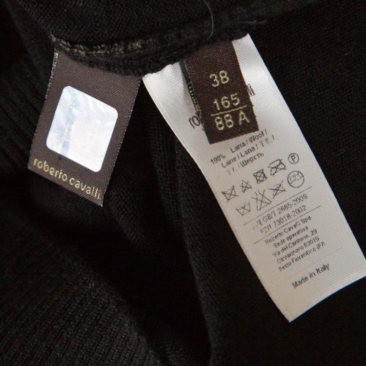 Roberto Cavalli Black Wool Metallic Gold Floral Printed Sweater Dress S
