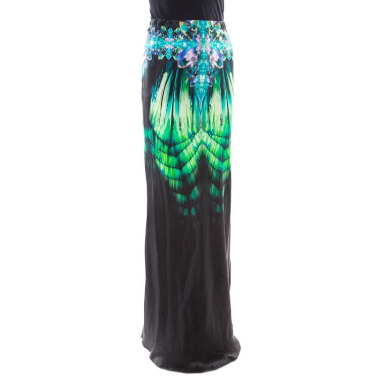 Roberto Cavalli Black Fluorite Crystal Printed Silk Maxi Skirt S