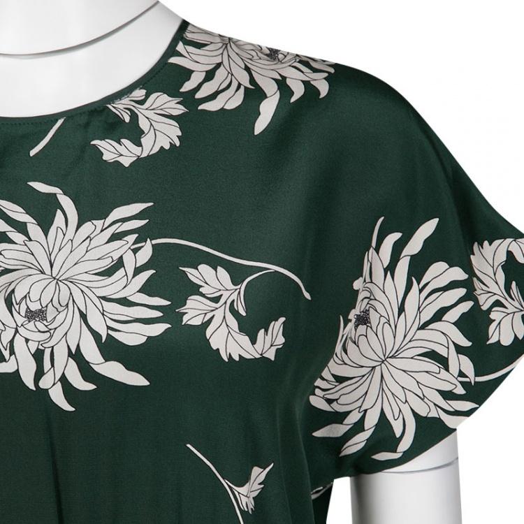 Rochas Green Dahlia Print Silk Midi Dress M
