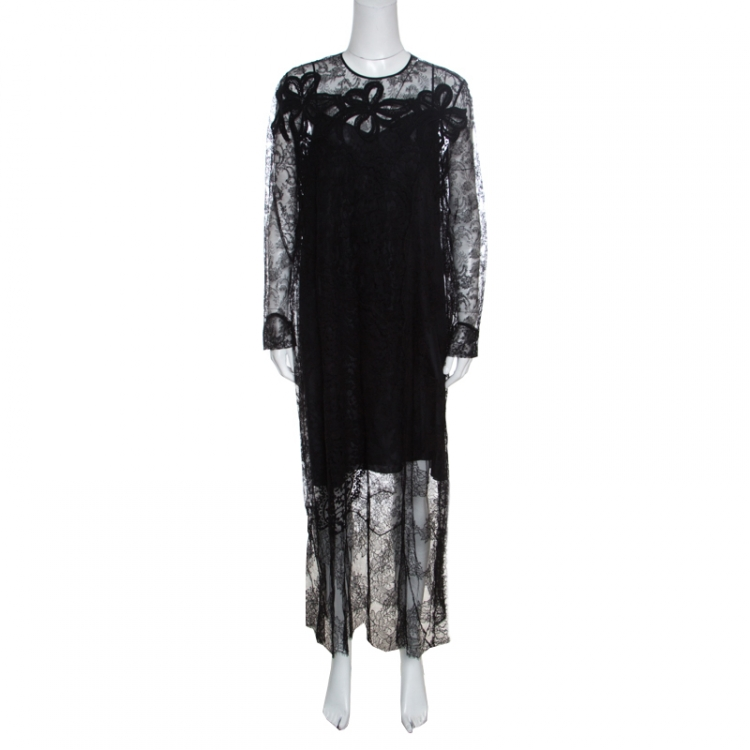 Rochas Black Floral Lace Long Sleeve Half Lined Maxi Dress XL