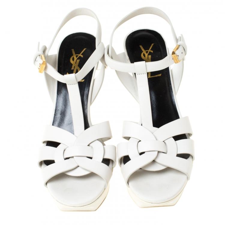 Saint Laurent Paris White Leather Tribute Platform Sandals Size 36.5