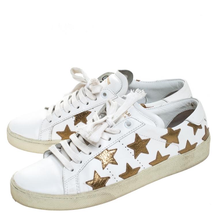Saint Laurent Paris White/Gold Leather