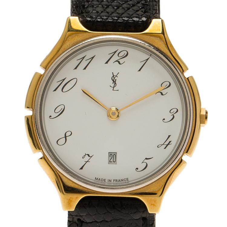 Saint Laurent Paris White Gold-Plated Stainless Steel Classic Women's Wristwatch 30MM