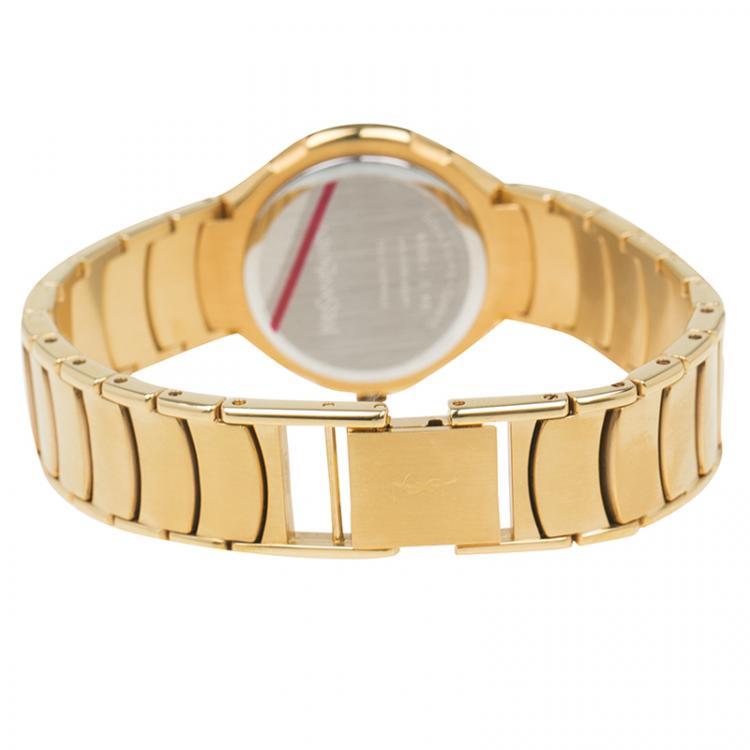 Saint Laurent Paris Blue Gold-Plated Stainless Steel Classic Women's Wristwatch 28MM
