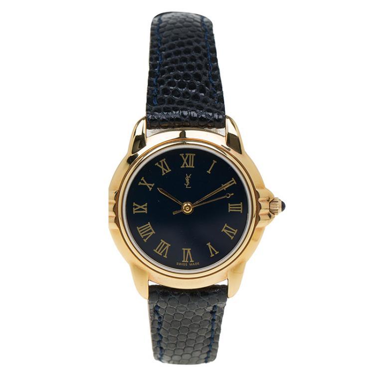 Saint Laurent Paris Blue Gold-Plated Stainless Steel Classic Women's Wristwatch 27MM