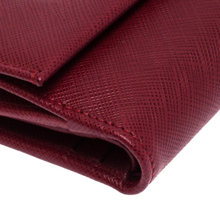 Salvatore Ferragamo Red Leather  Double Gancio French Wallet