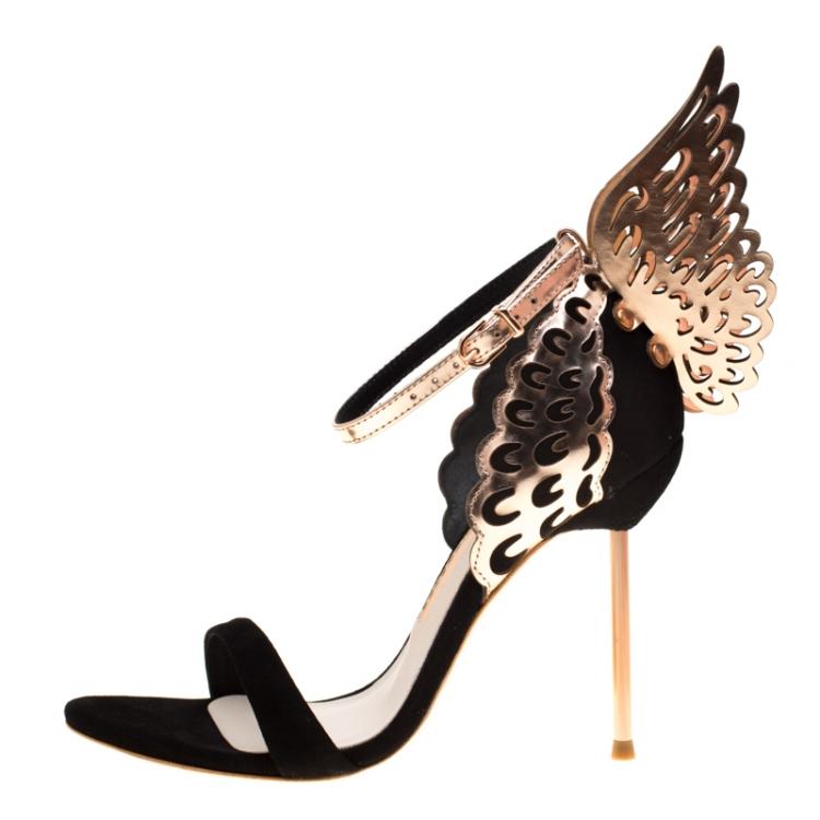 Sophia Webster Black Suede and Laser Cut Rose Gold Leather Evangeline Open Toe Sandals Size 36