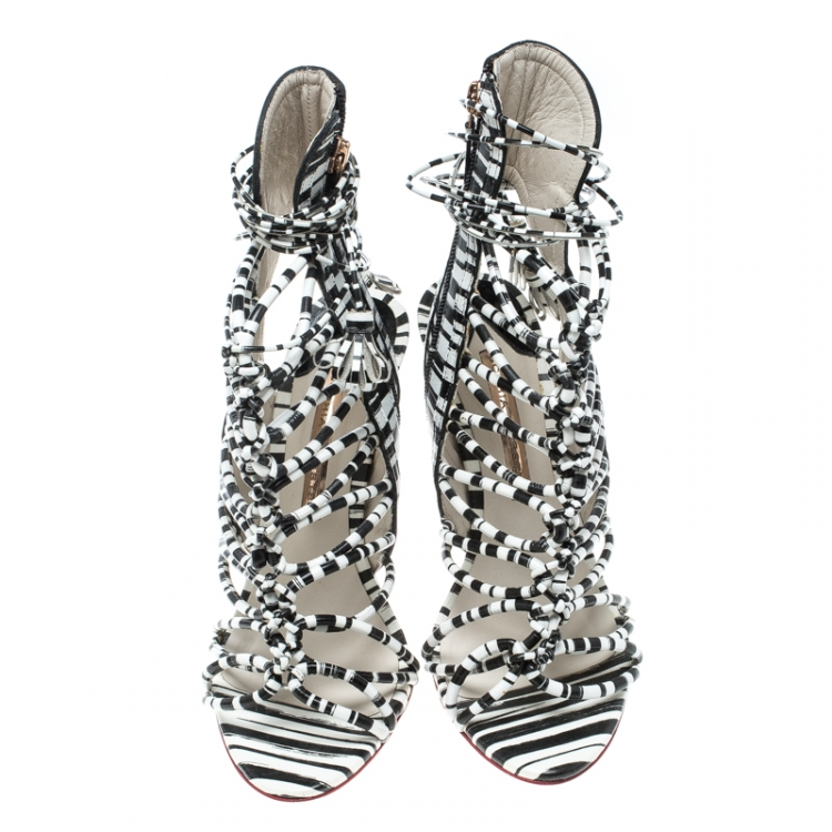 Sophia Webster Black/White Leather Lacey Sandals Size 39