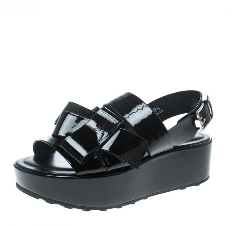 Tod's Black Patent Leather Slingback Platform Sandals Size 39.5
