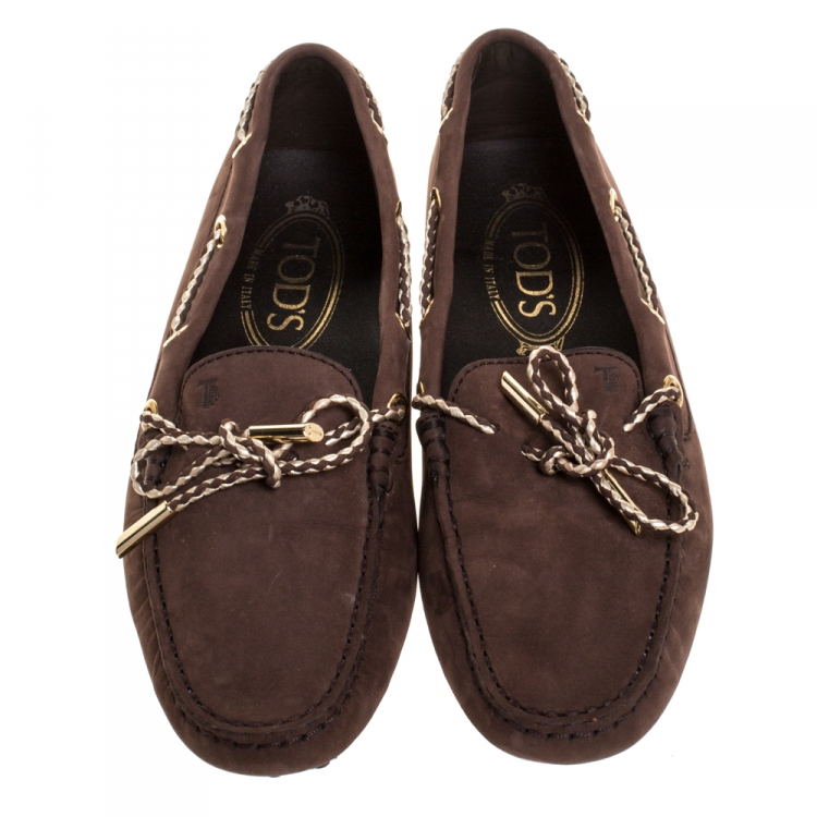 Tod's Brown Nubuck Leather Bow Loafers Size 35