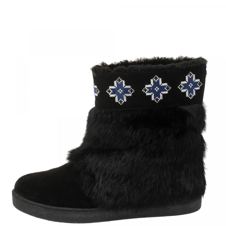 Tory Burch Fur and Suede Boots Size 38