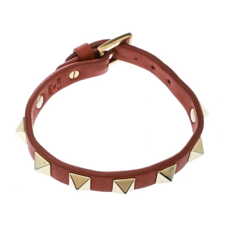 Valentino Rockstud Orange Leather Gold Tone Bracelet
