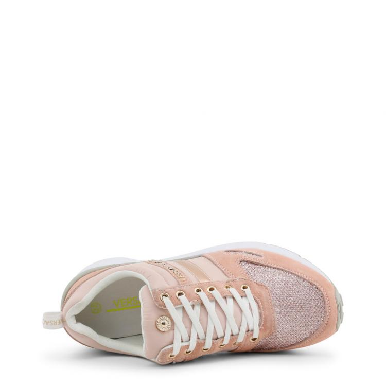 Versace Jeans Pink Fabric and Suede Platform Sneakers Size 36