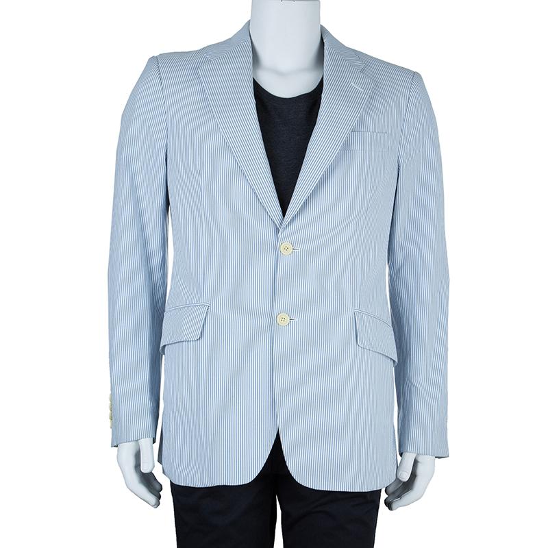 Burberry London Men's White and Light Blue Striped Men's Blazer L