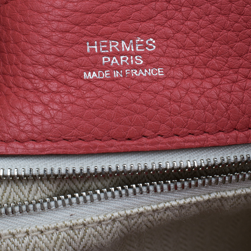 Hermes Rose Lipstick Clemence Leather Marwari PM Bag