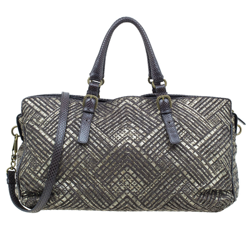 Bottega Veneta Metallic Gold Leather/Python Limited Edition Intrecciato Satchel