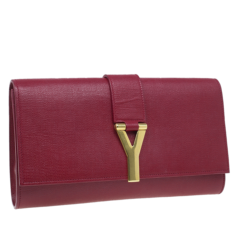 Saint Laurent Paris Red Leather Large CHYC Clutch