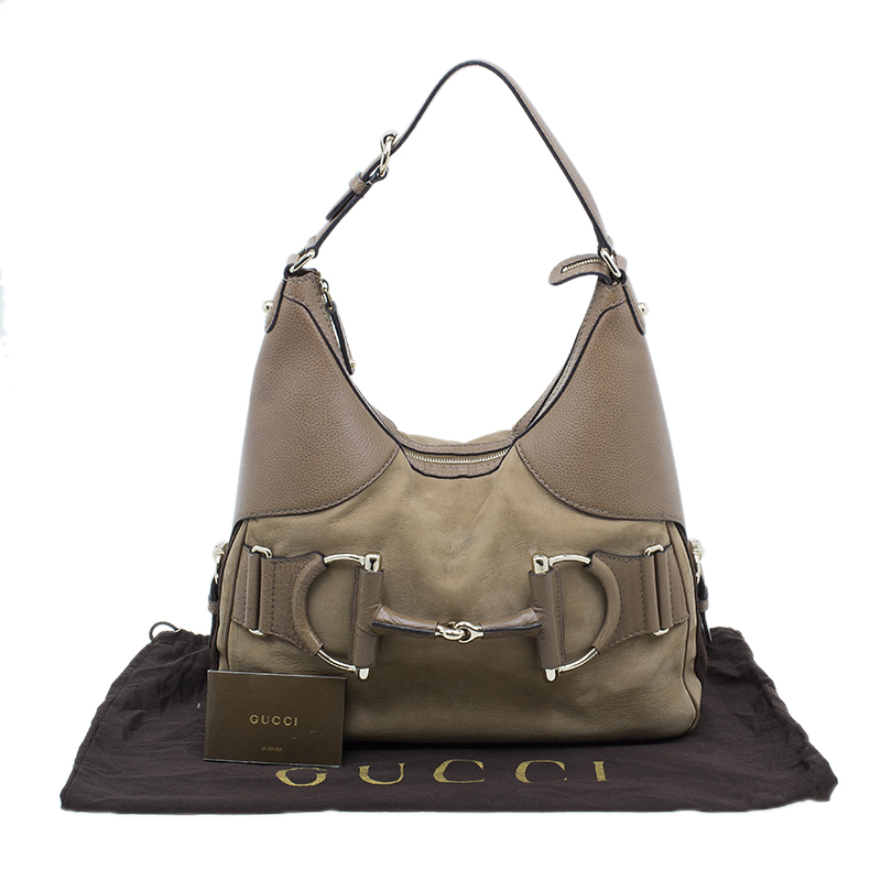 Gucci Brown Leather Suede Medium Web Horsebit Heritage Hobo